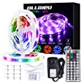 LED Strip Lights 32.8ft RGB 5050 Tape Light 12V Color Changing Rope Light Kit with RF Remote Power Plug-in Dimmable Flexible Non-Waterproof Indoor Lighting for Bedroom Kitchen Party Christmas
