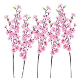 WINOMO Ramo de Flores Artificiales de Melocotón Flores Falsas Ramo de Primavera de Seda para La Decoración de La Fiesta de Cumpleaños de La Boda en Casa (6 Piezas Rosa)