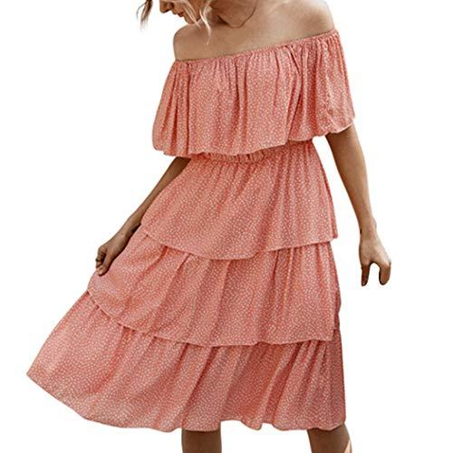HANMAX Süß Babydoll Sommerkleid Damen Schulterfrei Strandkleider Mini Abendkleid Partyoutfits Cocktailkleid (M, Rose)