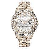 Orologio da uomo Bling Diamanti ghiacciati Bracciale Strass di cristallo Diamanti Orologi Quadrante Orologio analogico Argento dorato Hip Hop Uomini