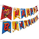 Superhero Birthday Party Supplies Banner by Aliza | Baby Boy Toddler Kids Birthday Super Hero Decorations – Huge 8-Foot Superhero Garland Decor – The Perfect Decoration for Your Party