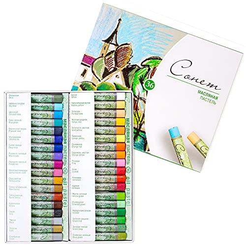 Sonnet - Juego de 36 tizas pastel al óleo | Fija sin fijador | Para papel de color, cartón, madera, cerámica o lienzo | Fabricado en Rusia por Neva Palette 🔥