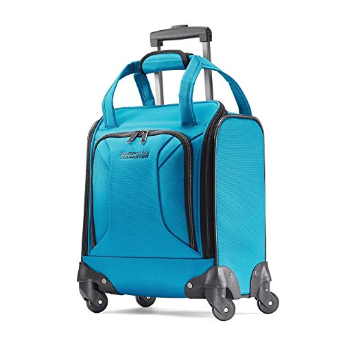 American Tourister Zoom Softside Luggage with Spinner Wheels, Teal Blue, Underseater