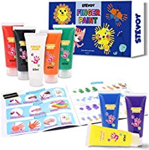 STEVOY Washable Finger Paint for Toddlers- 8 Colors - 60ml - Non Toxic Bath Finger Paint Set, Safe Art Painting Supplies Gift for Kids,Babies, Assorted Colors