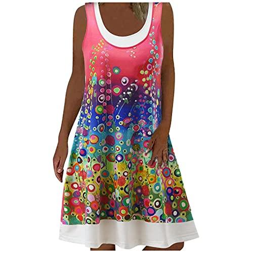Nuevo 2021 Vestidos Cortos para Mujer, Moda Elegante Vestido Verano Casual Flores impresión Vestidos Cortos...