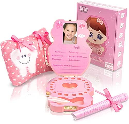 Zahnbox - Milchzahnbox - Zahndose - Milchzahndose-aus Holz- in zwei Designs für Mädchen und Jungen- mit leuchtendem Kuschelkissen-und Zahnfee-Brief - Zahndöschen für Milchzähne - (Farbe: ROSA)