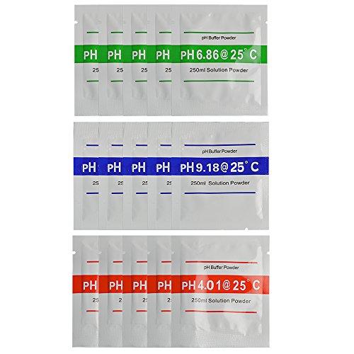 Neuftech 15pcs 4.01 / 6.86 / 9.18 calibrar polvo para calibración rápida el pH Medidor