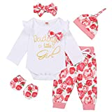Newborn Baby Girl Outfits Daddy's Little Girl Letter Print Romper+Floral Pants+Hat+Headband+Gloves 5PCS Clothes Set (White-A,0-3 Months)