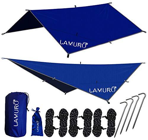 LAMURO Bâche Anti-Pluie Imperméable | Couverture de hamac ou Double Toit de Tente en Nylon Ripstop | Abri de Survie Tous Temps pour l'extérieur | Équipement de Camping et randonnée