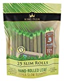 King Palm Slim Size Natural Pre Wrap Palm Leafs (1 Pack of 25, 25 Rolls Total) - Pre Rolled Cones - All Natural Cones - Corn Husk Filter - Preroll Cones - Prerolled Cones with Filter - Organic Cones