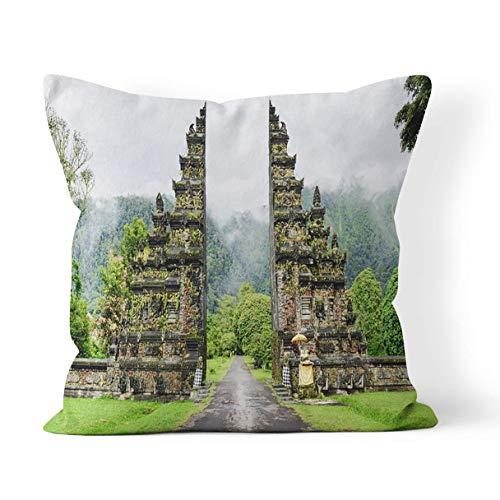 QDAS Kissenbezug Regenzeit in Bali Indonesien nach dem Regen Berge versteckte Reißverschluss Home Sofa dekorative Kissenbezug quadratisch Bedruckte Kissenbezug