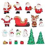 Bluelves Mini Figuritas de Navidad, 16 Piezas Mini Adornos Navideños Resina Santa Claus Muñeco de Nieve Reno decoración del Paisaje