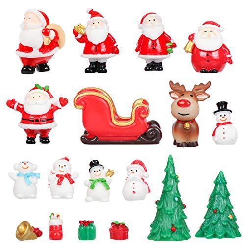 Bluelves Statuine di Natale, Babbo Natale, Renna, Alberi di Natale e Pupazzi di Neve, Natale Micro Paesaggio, 18 Pezzi