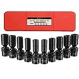 Anbull 3/8' Drive deep Universal Impact Socket Set 6 Point 10PCS Metric Impact Stand Socket Set 10mm-19mm