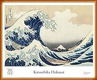 ポスター ホクサイ The Great Wave 富嶽三十六景・神奈川沖波裏 額装品 ウッドベーシックフレーム(オレンジ)