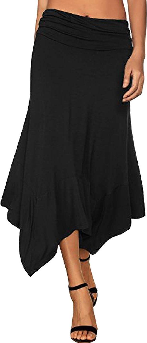 Hongsui Women's Summer Knee Length Flowing Irregular Hem Casual Midi Skirt
