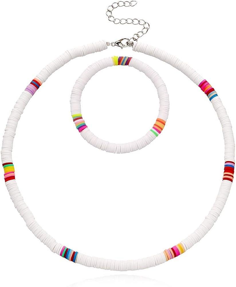 LiangGui Bead Choker Necklace and Bracelet Set Women African Vinyl Disc Beads Collar Surfer Necklaces Set for Summer Beach