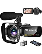ビデオカメラ4K YouTubeカメラ3000万画素 外付けマイク+フード LEDフィルライト 18倍デジタルズーム 予備バッテリー 3インチタッチモニター 日本語システム+説明書