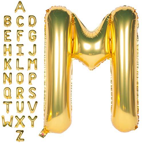 CHANGZHONG Große Mylar Folie Helium Brief Luftballons 40 Zoll Gold Luftballons Alphabet Buchstaben für Geburtstag Brautdusche Jubiläumsdekorationen(Letter M)