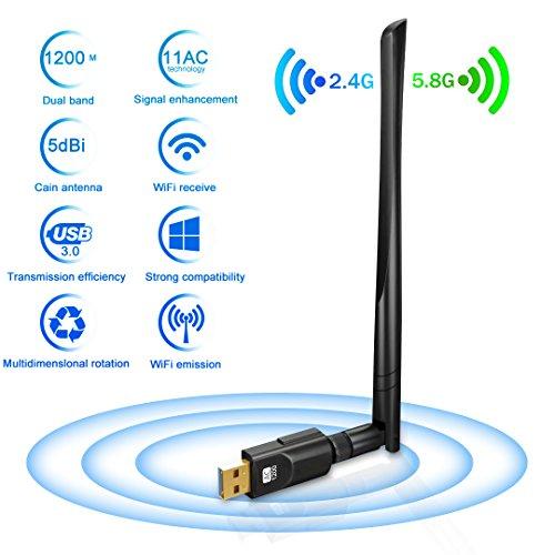 Adattatore Antenna USB WiFi Chiavetta Wifi con Antenna 5dBi Ricevitore WiFi 1200Mbps(300Mbps/2.4G & 867Mbps/5.8G) 11ac Dual Band, Compatibile con Wind