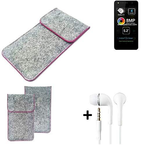 K-S-Trade Filz Schutz Hülle Für Allview A9 Lite Schutzhülle Filztasche Pouch Tasche Hülle Sleeve Handyhülle Filzhülle Hellgrau Pinker Rand + Kopfhörer