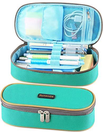 Homecube Estuche Escolar, Estuche de lápices con Cremallera para papelería de Oficina, útiles Escolares - Verde