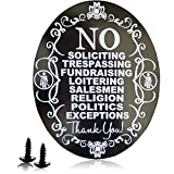 No Soliciting Sign for Home No Trespassing Signs Aluminum 5' X 4' Laser Engraving Anodized Aluminum Never Change Color(NEW VERSION)