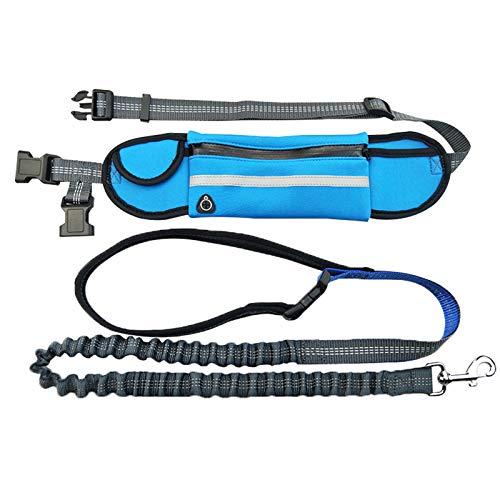 HEAPETBON Correa de perro manos libres con elástico reflectante, cinturón ajustable y bolsa, correa de perro para caminar, correr, entrenar, adecuado para perros medianos y pequeños (azul)