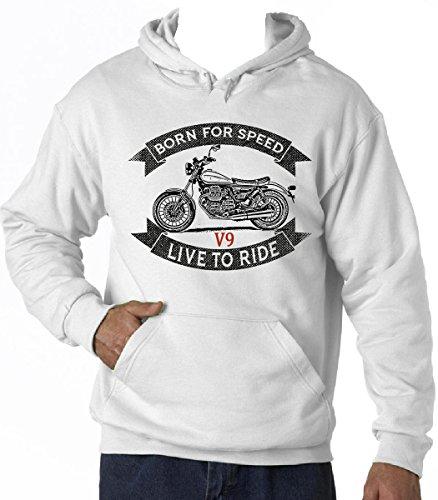 TEESANDENGINES Men's Moto Guzzi V9 White Hoodie T-Shirt Size XXLarge