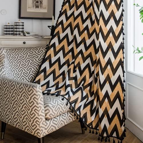 Tende da finestra semi-oscurante con ondulazione oro nero 1 pezzo per soggiorno camera da letto, stile gancio 59 'L x 102' L (150x260 cm)
