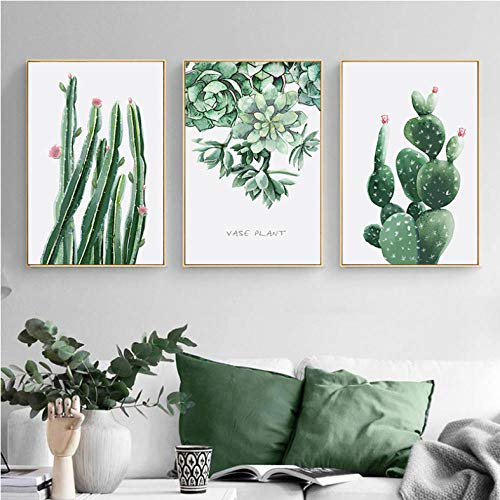 Planta verde Hoja Cactus Impresión moderna del arte de la lona Pintura de la pared Decoración para el hogar Cartel nórdico Cuadros decorativos de la pared para la sala de estar / sin marco / 50x70cm