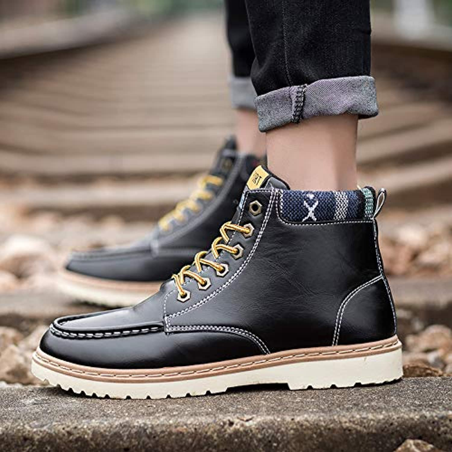 LOVDRAM Boots Men's Martin Boots Men'S shoes Boots Fashion Boots Men'S Fashion High Help Tool Boots Autumn And Winter