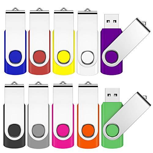 Jevdes USB-Sticks (8 GB, USB 2.0, Drehgelenk-Design, für Datenspeicherung, Zip-Laufwerk, Starthilfe-Laufwerk mit LED-Licht, 10 Stück