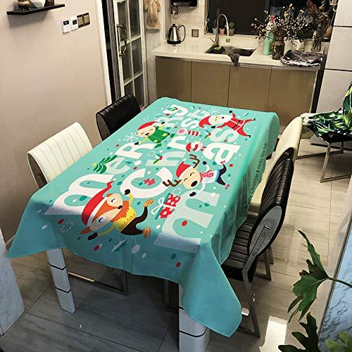 Mantel De Poliéster con Estampado Digital De La Serie Navideña, Impermeable Y Antiescaldamiento, Tapete Rectangular, Multifuncional, Cubierta