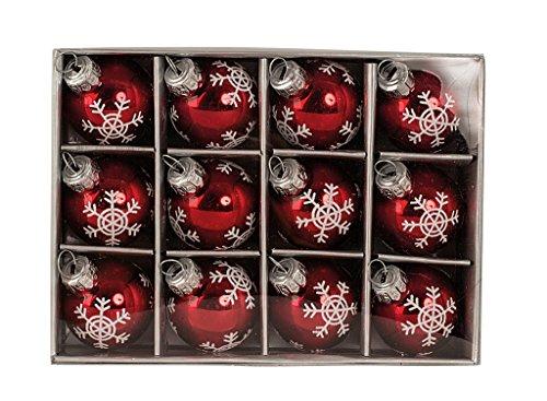 Geschenkestadl 12 Weihnachtskugel Glas Rot glänzend Christbaumschmuck Ø 3 cm Baumschmuck Weihnachten Schneeflocke Anhänger