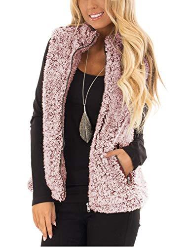 MEROKEETY Women's Casual Sherpa Fleece Lightweight Fall Warm Zipper Vest with Pockets,Burgundy,Small