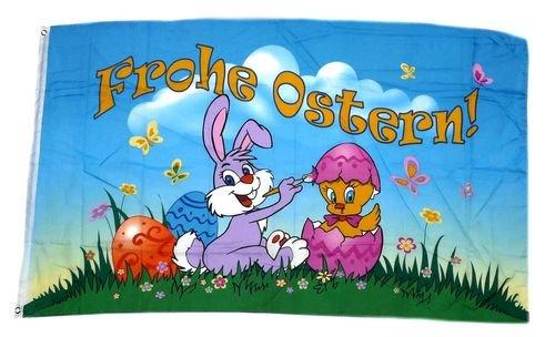 Fahne / Flagge Frohe Ostern Küken Ei 90 x 150 cm