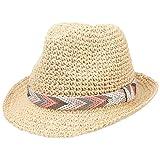 CHILLOUTS Medellin Hat in Natur S/M   Damen Hut Fedora Trilby Knautsch Strohhut