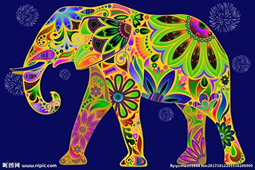 yaofale Puzzle 1000 Piezas Elefante de Color Adultos Juguetes Educativos para Niños para la Damilia Decoración del Hogar 50x70cm (Sin Marco)