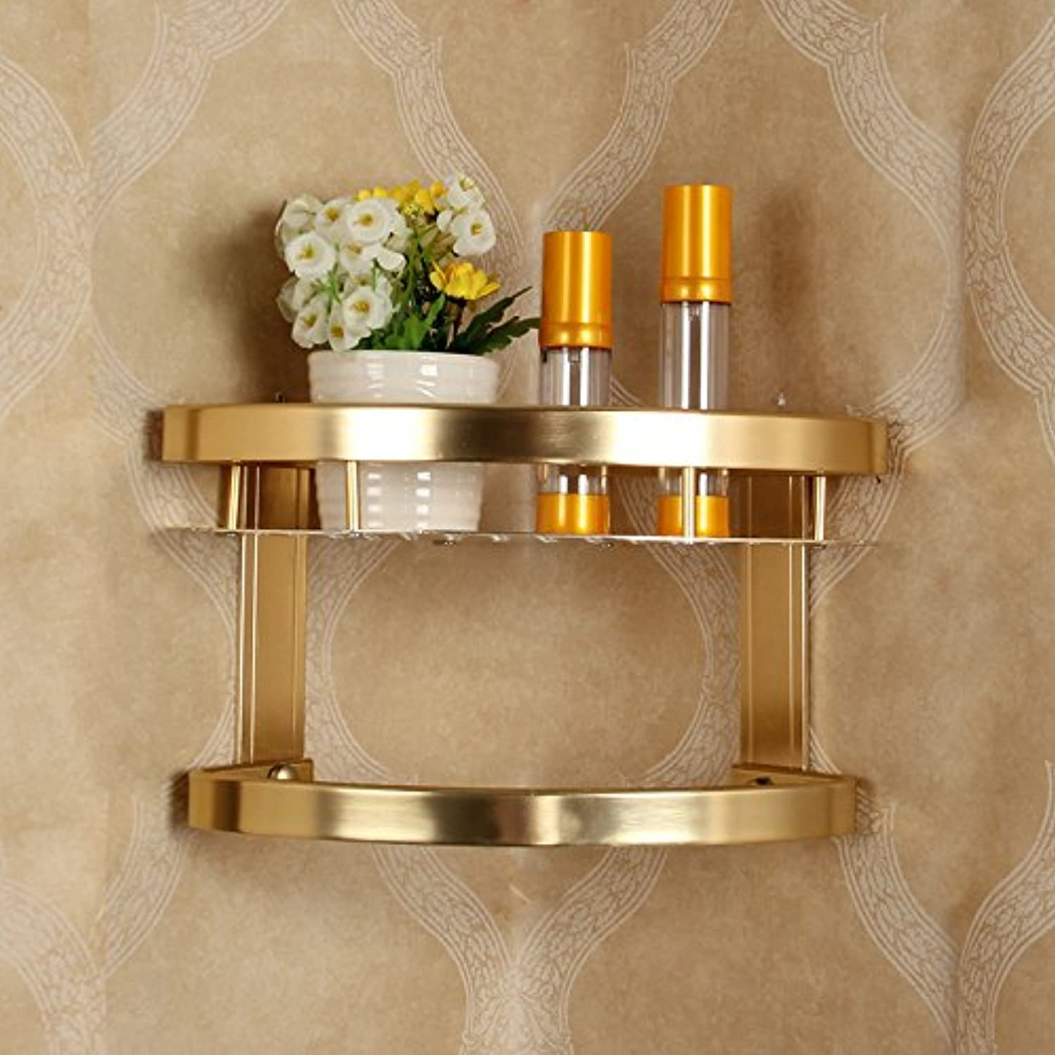 Local gold single layer space aluminum scalloped corner racks