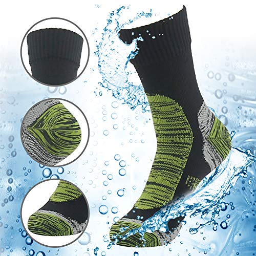 RANDY SUN 100% Waterproof Skiing Socks, Men's Comfortable Warm and Dry Crew Waterproof Socks Black&Grass Green Large