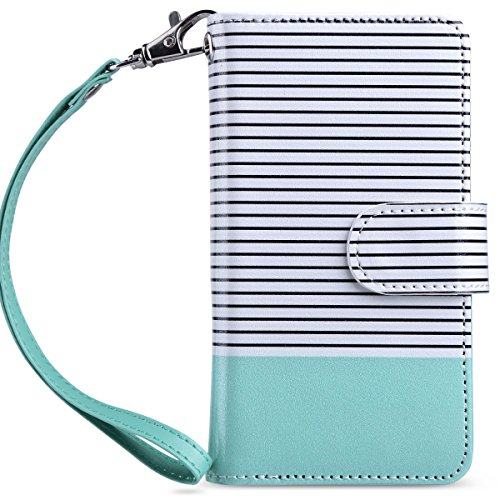 ULAK iPod Touch 7th Generation Case, iPod Touch 6 Wallet Case, Premium PU Leather Flip Wallet Case with Card Holder Stand Shockproof Folio Cover for iPod Touch 5/6/7, Mint Stripes