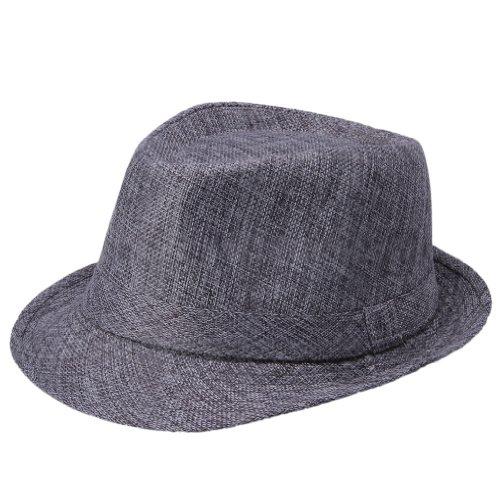 EOZY Chapeau Homme Fedora Panama Trilby Plage Ete Coton Tour 58cm (#1 Gris foncé)