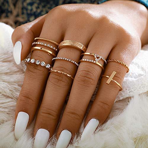 Vakkery Juego de anillos de oro para nudillos de cristal bohemio, anillos apilables, joyería de tamaño medio, para mujeres y adolescentes