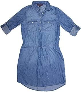 Ladies Denim Dresses - Womens Chambray Shirt Blouse Dress (Medium, Rimini Wash)