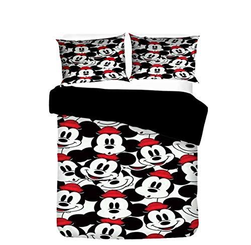 Juego de ropa de cama de microfibra con cierre de cremallera, evita alergias, juego de ropa de cama para estudiantes (Mickey2, 220 x 240 cm + 50 x 75 cm x 2)