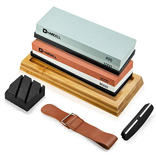 Knife Sharpening Stone Set,400/1000 and 3000/8000 Grit Whetstone Knife Sharpener Kit with Leather Razor Strop, Leather Honing Strop, Polishing Compound, Bamboo Base and Flattening Stone by HARDELL