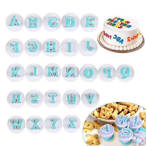 Lettere Pasta di Zucchero, XCOZU 26 pezzi Stampini per Biscotti per Lettere Maiuscole, Cake Alphabet Plunger Set, Stampi per Torta Fondant, Stampini Alfabeto Cookie Stamp per Torta (Blu)