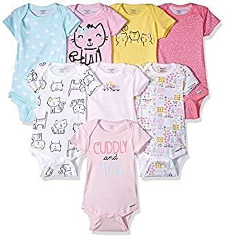 Onesies Brand Baby Girls  8-Pack Short Sleeve Printed Bodysuits Cuddly Cats & Flowers 0-3M