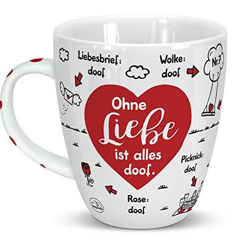 Sheepworld 46506 Tasse Ohne Liebe ist alles doof, Herz, Porzellan, 45 cl, Rot, Geschenktasse